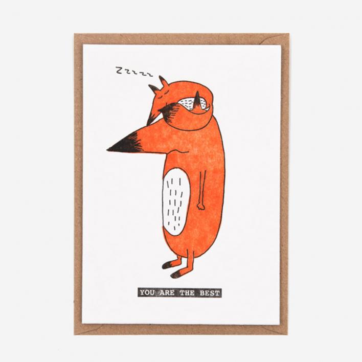 Studio Flash You Are The Best Fox Letterpress Postcard