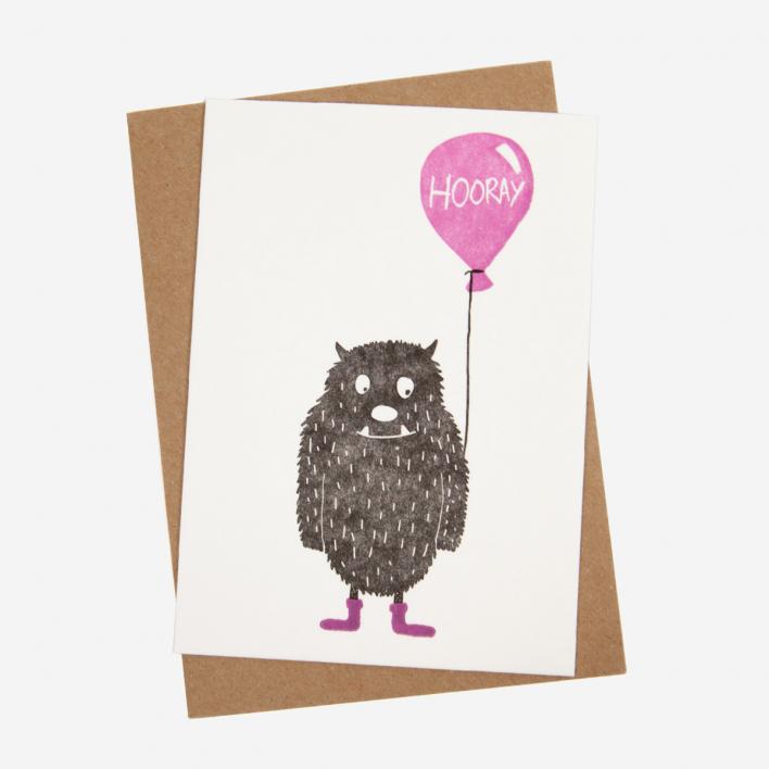Hooray Monster Pink Letterpress Postcard                          </a>                    </div>                    <div class=