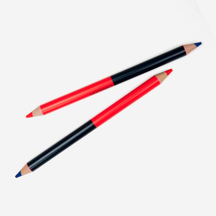 Letterbox Zweifarbiger Buntstift Rot / Blau