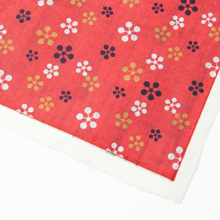 Akiko Yuzen Paper Flower pattern red