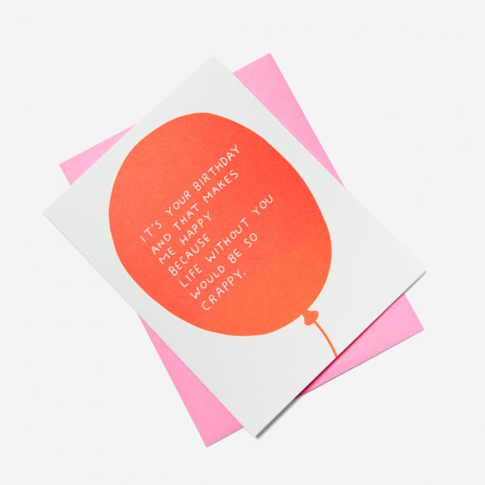 Ashkahn Birthday Balloon Grußkarte