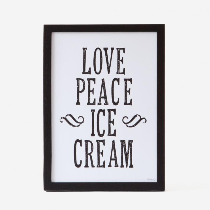 Bon Matin Love Peace Icecream B/W