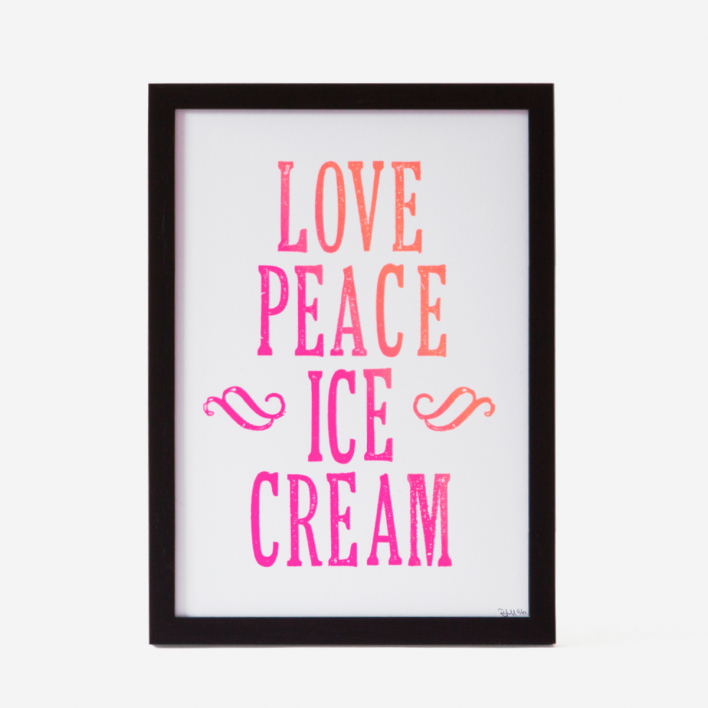 Bon Matin Love Peace Icecream White frame White frame