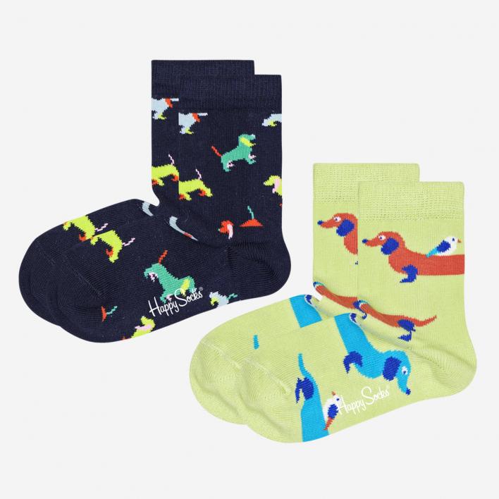 Happy Socks Kids Dogs Socken 2-Pack - Green 7-9 Jahre