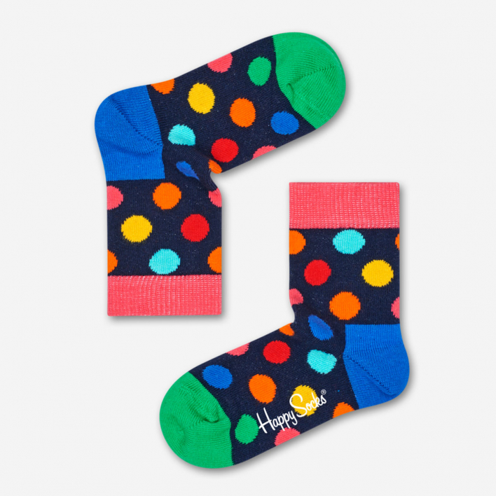 Happy Socks Kids Big Dot Dark Blue - Pink Socken