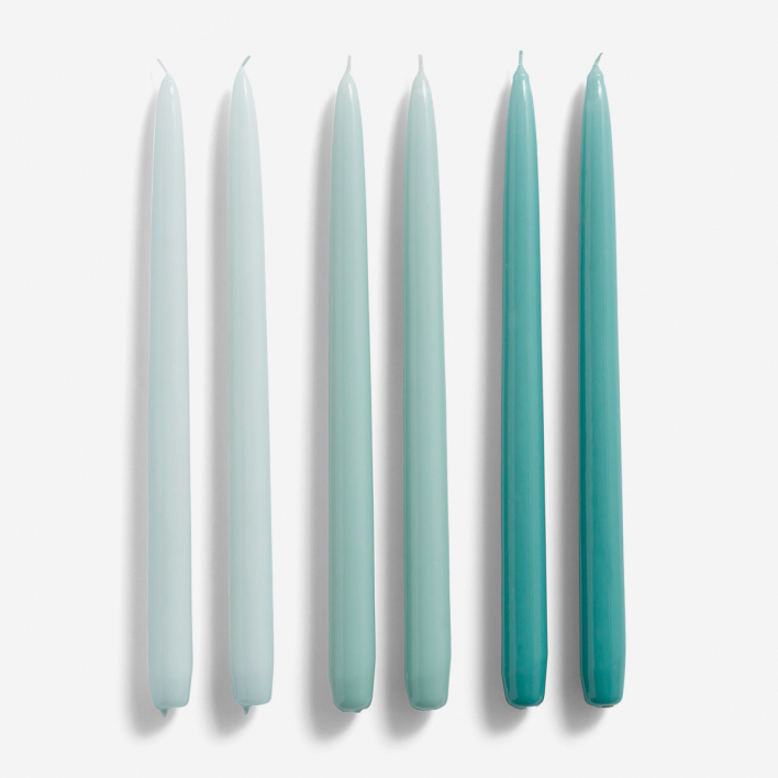 HAY Candle Conical Ice Blue Arctic Blue Teal – Set mit 6 Kerzen
