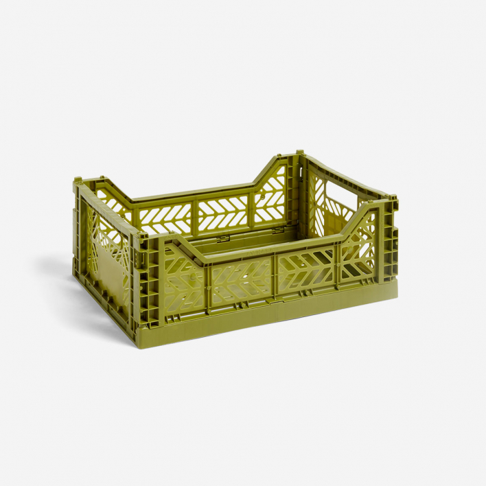 HAY Colour Crate M Olive - Foldable Box