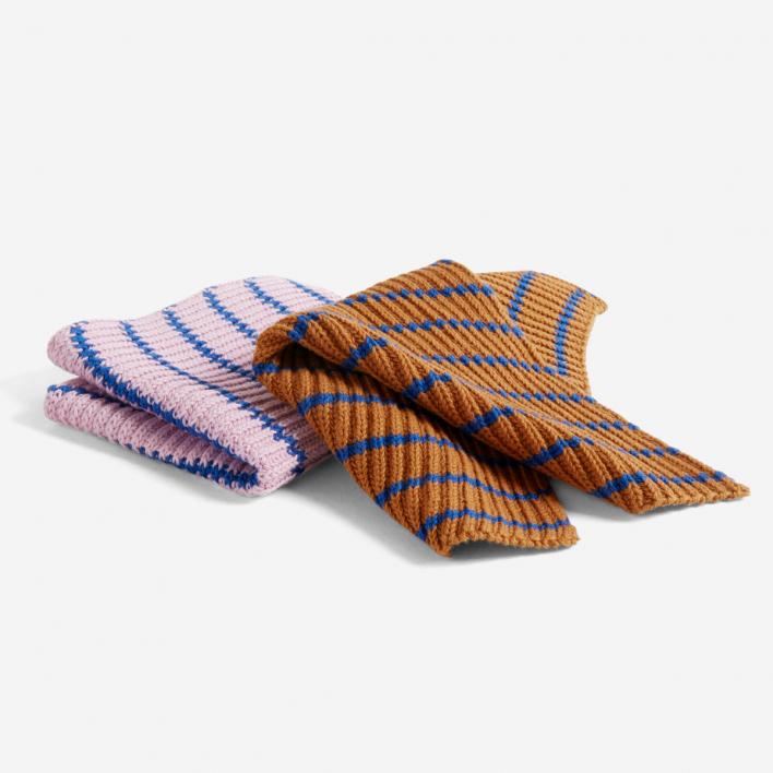 HAY HAY Kitchen Cloth Stripe Blue Brown Pink - Set mit 2 Spültüchern