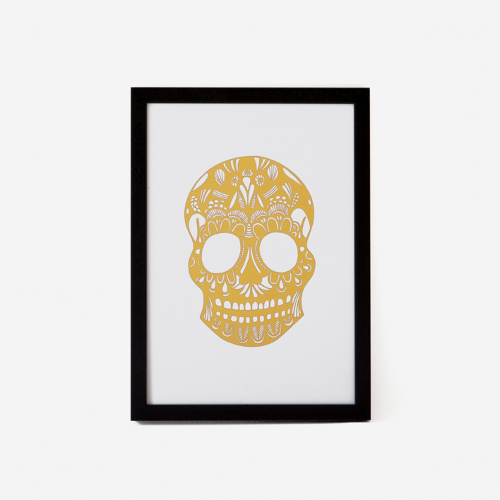 Josie Majetic Calavera Gold Green Rust #2 Screenprint