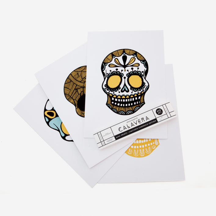 Josie Majetic Calavera Gold Green Rust Screenprint Set