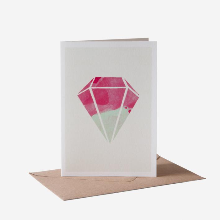Karte Design Fabrik Diamant Magenta Grußkarte