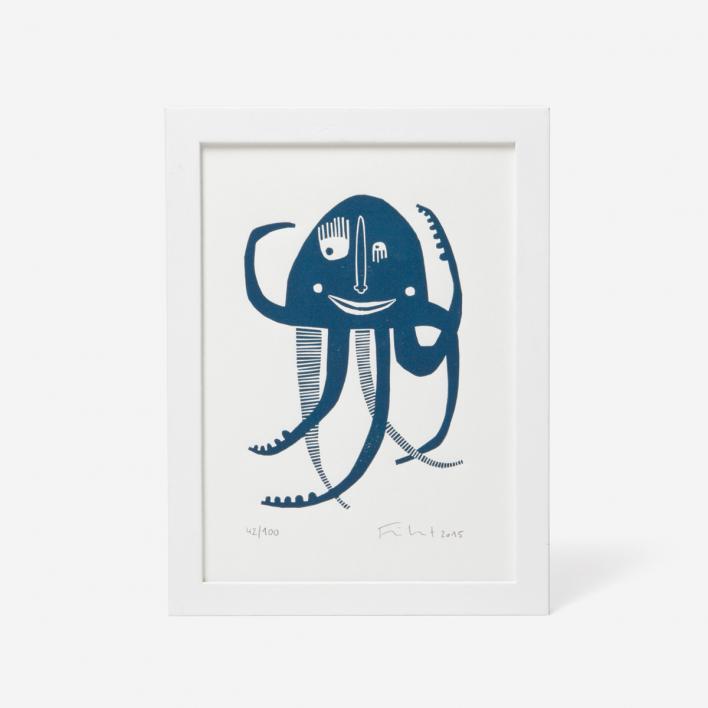Knallbraun Octopus Linocut Print