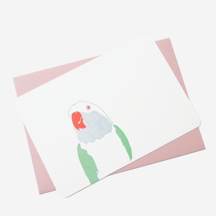 Le Typographe Grusskarte Papagei rosa