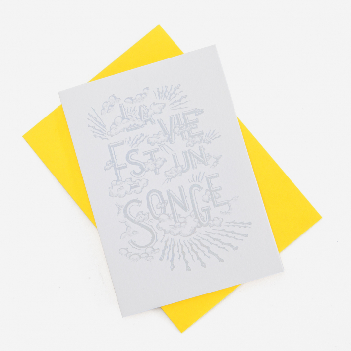 Letterpress De Paris La Vie Est Un Songe Letterpress Greeting Card