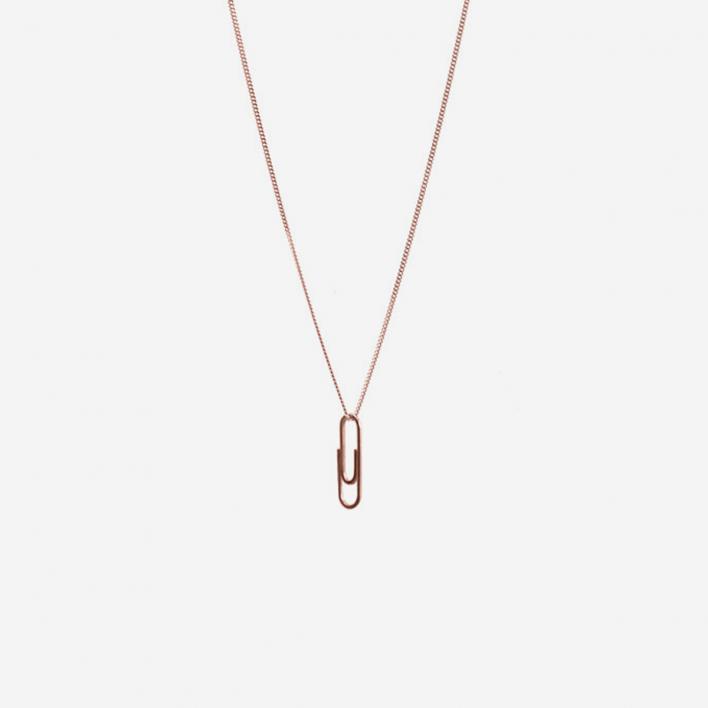 Martine Viergever Necklace Mini Paper Clip Rosé Gold