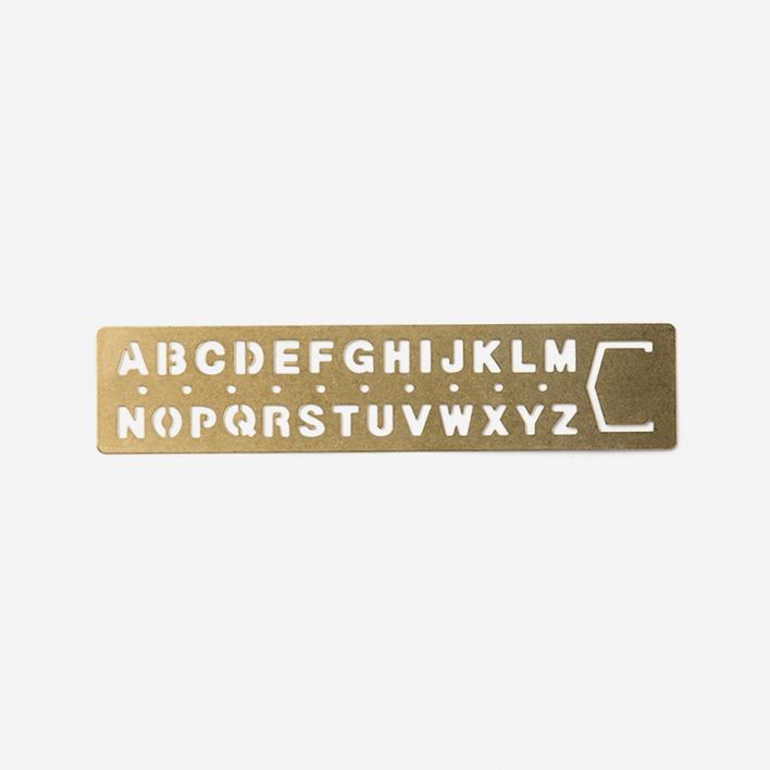 TRAVELER'S Company Brass Template Bookmark Alphabet
