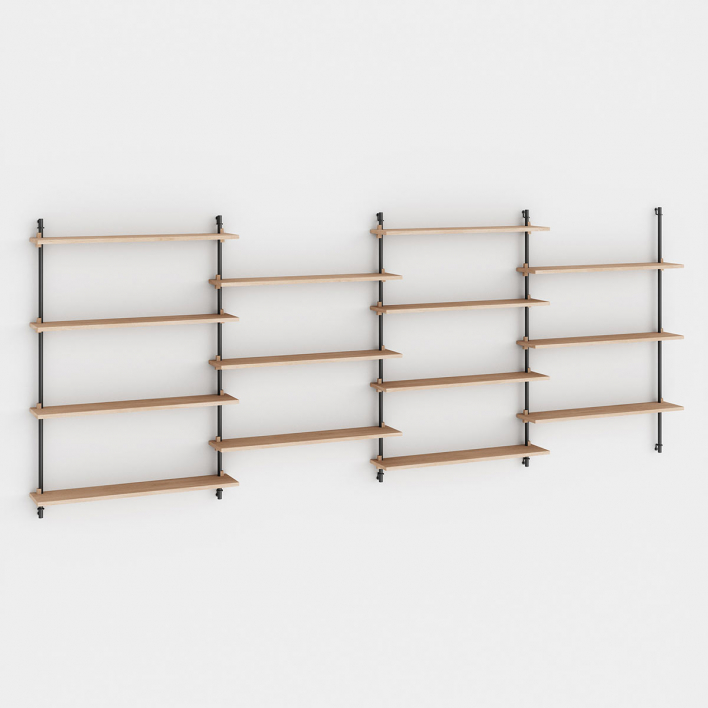 Moebe Wall Shelving - WS.115.4 - H 115 × W 316 × D 17,5 cm Oiled Oak + Black WS.115.4 - H 115 × W 316 × D 17,5 cm | Oiled Oak | Black
