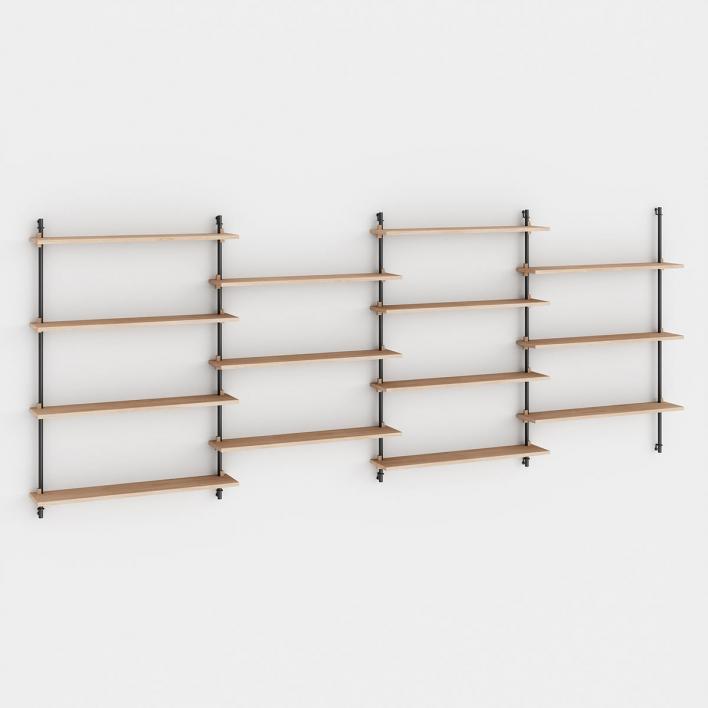 Moebe Wall Shelving - ws115 Wandregal-System WS.115.4 - H 115 × W 316 × D 17,5 cm | Eiche geölt | Schwarz