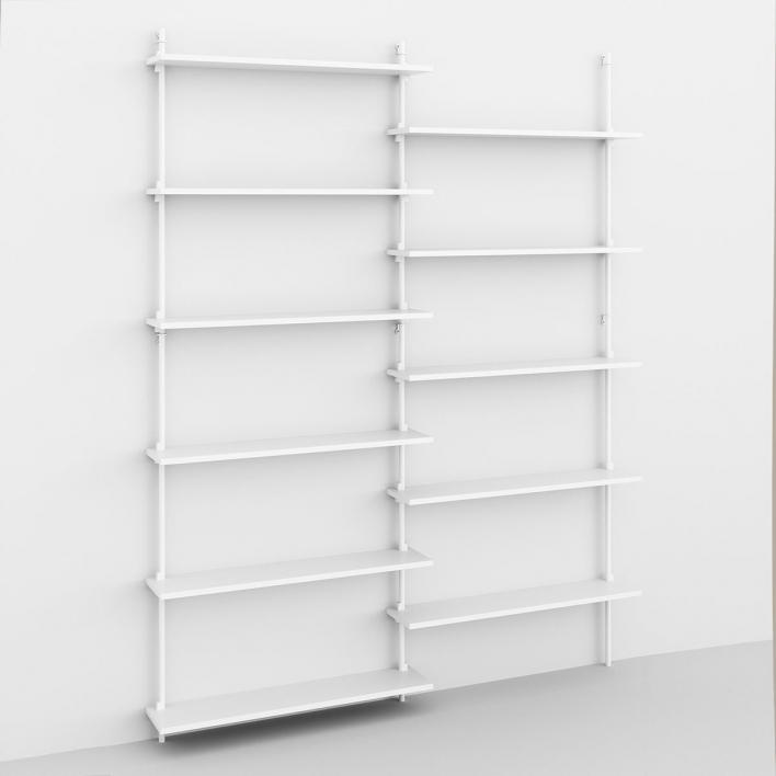 Moebe Wall Shelving - ws200 Wandregal-System WS.200.2 - H 200 × W 162 × D 17,5 cm | Weiß lackiert | Weiss