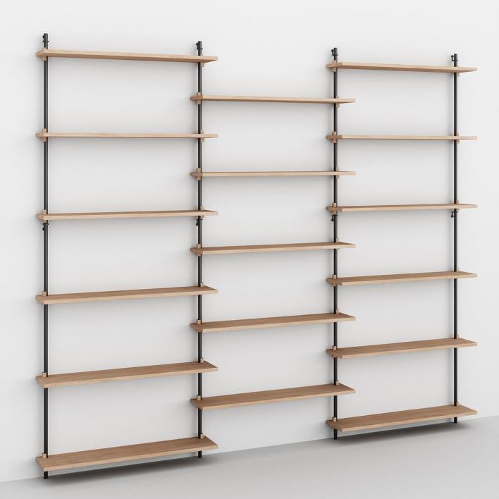 Moebe Wall Shelving - ws200 Wandregal-System WS.200.3 - H 200 × W 239 × D 17,5 cm | Eiche geölt | Schwarz
