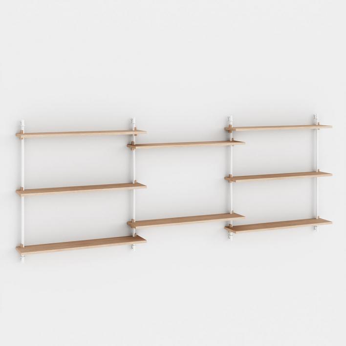 Moebe Wall Shelving - ws85 Wandregal-System WS.85.3 - H 85 × W 239 × D 17,5 cm | Eiche geölt | Weiss