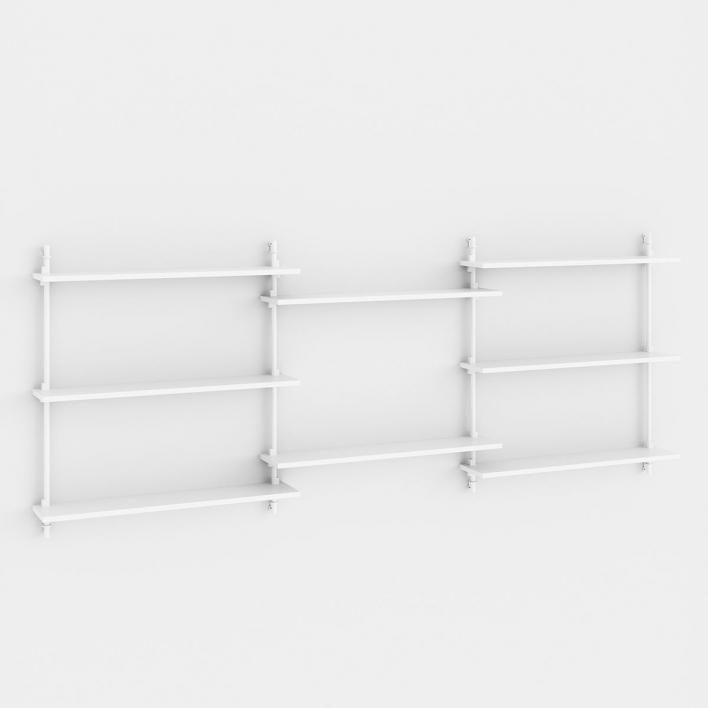 Moebe Wall Shelving - WS.85.3 - H 85 × W 239 × D 17,5 cm White PU paint + White WS.85.3 - H 85 × W 239 × D 17,5 cm | White PU paint | White