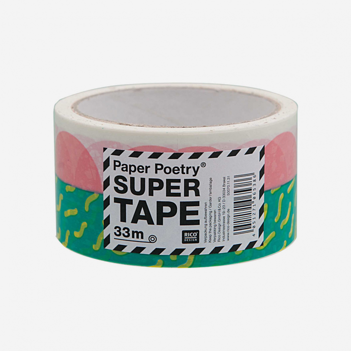 Paper Poetry Tape Confetti Green– Wide packaging tape