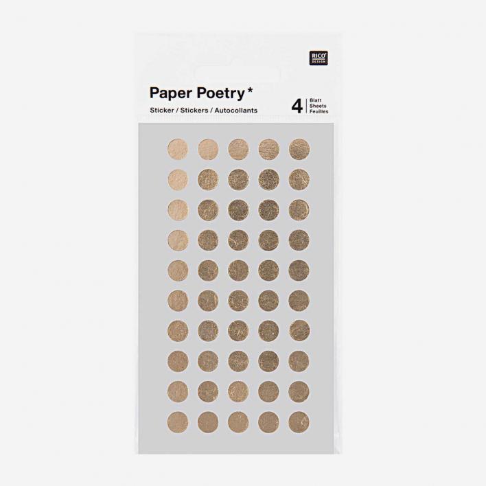 Paper Poetry Sticker Punkte Gold – verschiedene Größen 8 mm - 200 Sticker
