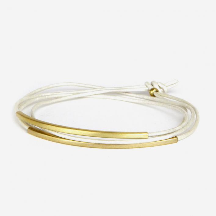 Pikfine Leather Bracelet Tube Tingval plated-brass Nacre White
