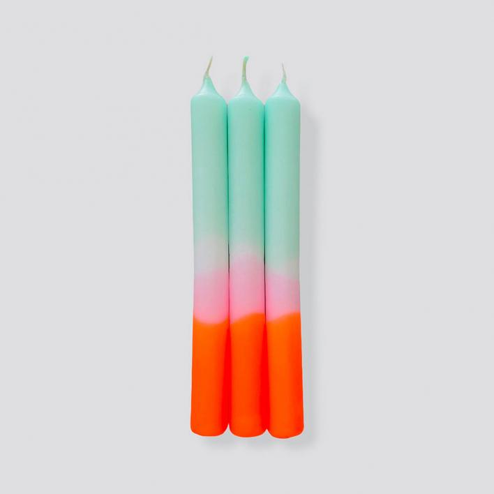 Pink Stories Dip Dye Neon Spring Sorbet – Set mit 3 Kerzen