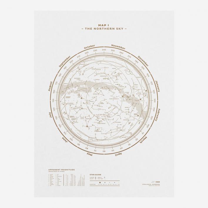Stellavie The Sky Gold/White Screenprint