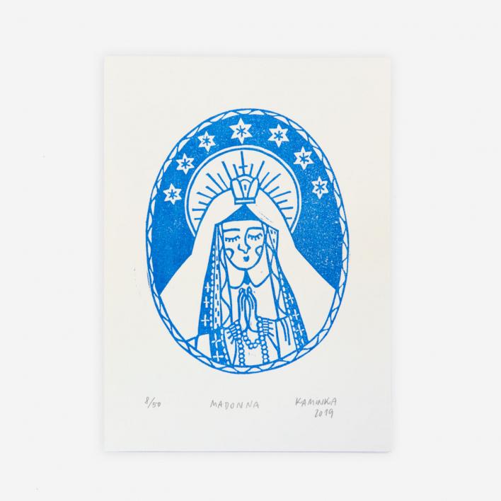 Kaminka Madonna Linoldruck