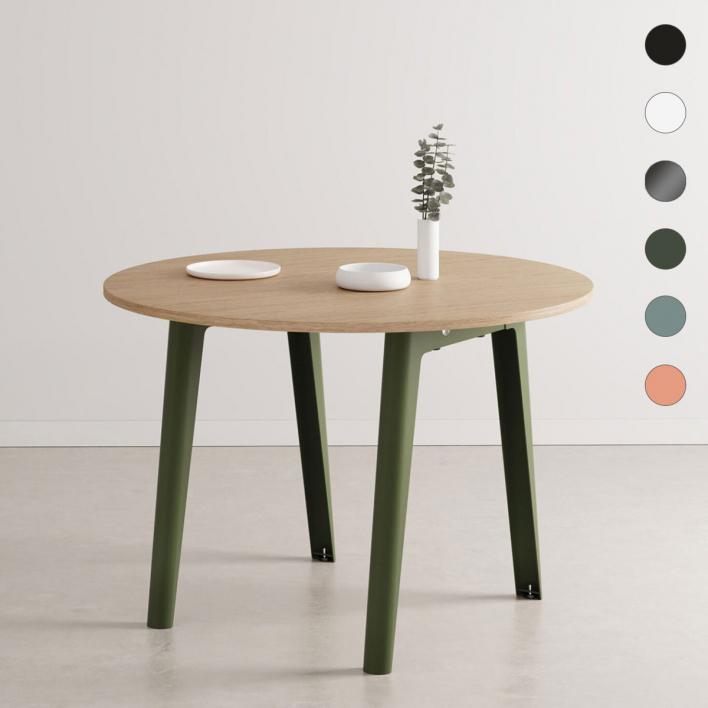 Tiptoe NEW MODERN Round Table – runder Tisch mit öko-zertifizierter Holzoberfläche