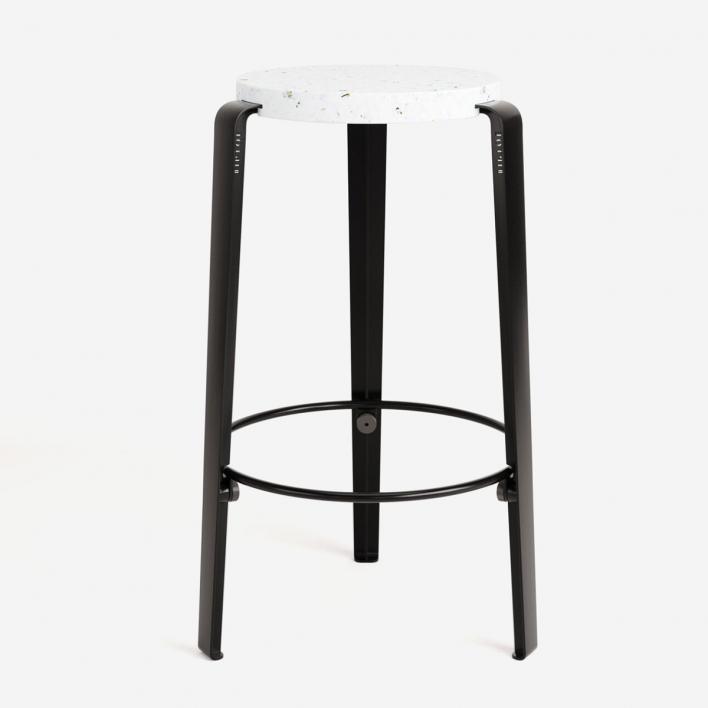 Tiptoe MI LOU Stool Mid High in recycled plastic VENEZIA Graphite Black Graphite Black