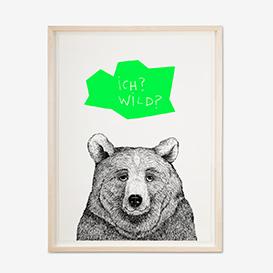 Bear - Green Screenprint Poster>     </noscript> </div>          <div class=