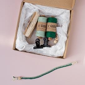 DIY Set for macrame bracelets - sage green + fir green>     </noscript> </div>          <div class=