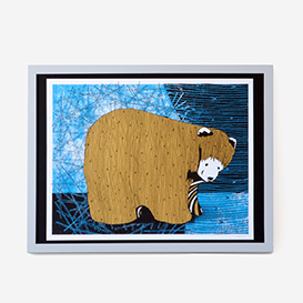 Folk Bear Art Print Siebdruck>     </noscript> </div>          <div class=
