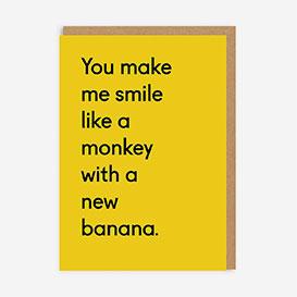 Monkey With A New Banana Grußkarte>     </noscript> </div>          <div class=