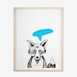 Fuchs - Hausaufgaben? Blau Siebdruck Poster>     </noscript> </div>          <div class=
