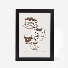 Coffee loves me Linocut Print>     </noscript> </div>          <div class=