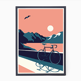 Summertime Travel - Bike Screenprint Poster>     </noscript> </div>          <div class=